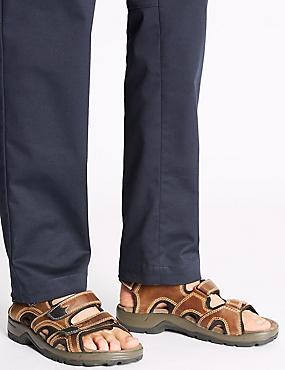 Leather Three Strap Riptape Sandals, BROWN, catlanding