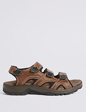 Leather Three Strap Riptape Sandals