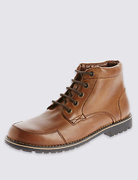 Leather Lace-up Mudguard Chukka Boots