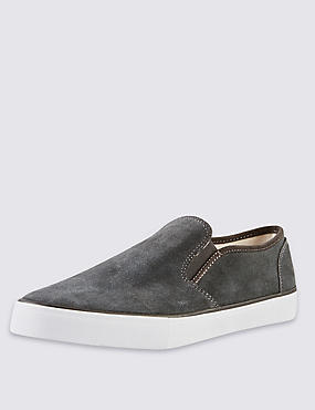Suede Slip-On Pumps with Stain Resistance