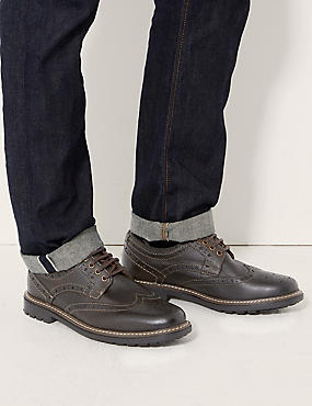 Leather Lace-up Heavy Sole Brogue Shoes, BROWN, catlanding
