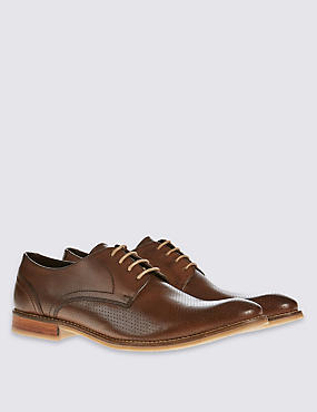 Leather Perforated Derby Lace-up Shoes