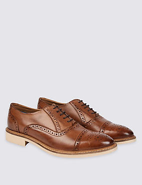 Leather Contrast Sole Brogue Shoes