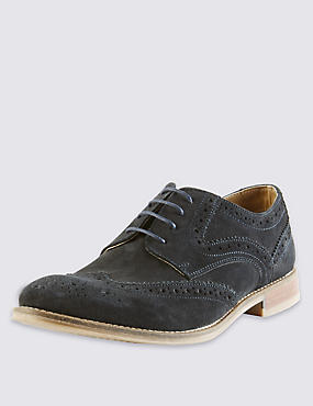 Suede Lace Up Brogue Shoes with Stain Resistance