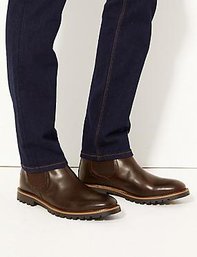 Leather Chelsea Boots, DARK BROWN, catlanding