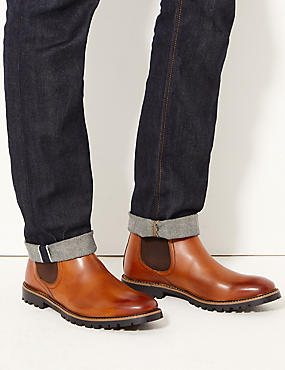 Leather Chelsea Boots, CHESTNUT, catlanding