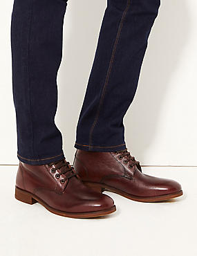 Leather Lace-up Chukka Boots, BURGUNDY, catlanding