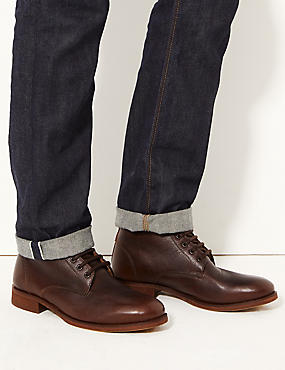 Leather Lace-up Chukka Boots, RICH BROWN, catlanding
