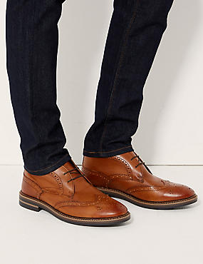 Leather Lace-up Chukka Boots, CHESTNUT, catlanding