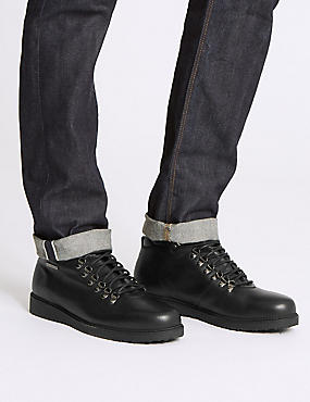 Leather Lace-up Chukka Boots, BLACK, catlanding