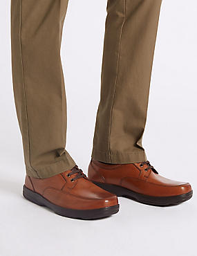 Big & Tall Extra Wide Fit Leather Shoes , DARK TAN, catlanding