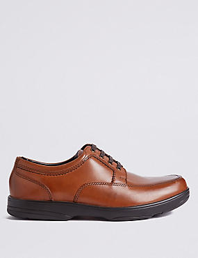Extra Wide Fit Leather Shoes with Airflex™, DARK TAN, catlanding