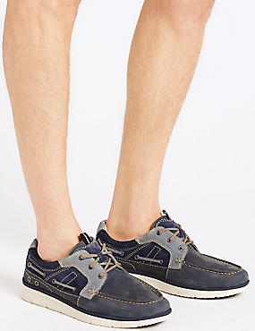 Leather Lace-up Boat Shoes, NAVY MIX, catlanding