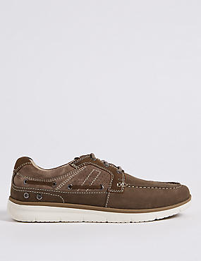 Leather Lace-up Boat Shoes, LIGHT PUTTY, catlanding