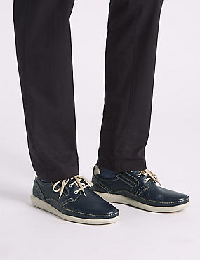 Leather Lace-up Derby Shoes with Airflex™, NAVY, catlanding