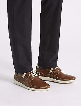 Leather Lace-up Derby Shoes with Airflex™, TAN, catlanding