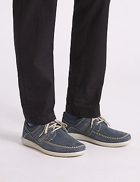 Suede Lace-Up Derby Shoes with Airflex™, DUSTY BLUE, catlanding