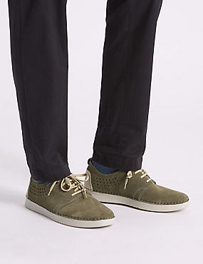 Suede Lace-up Derby Shoes with Airflex™, KHAKI, catlanding