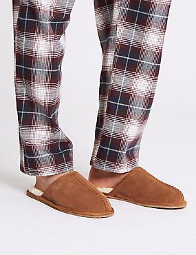 Suede Slip-on Mule Slippers with Freshfeet™, TAN, catlanding