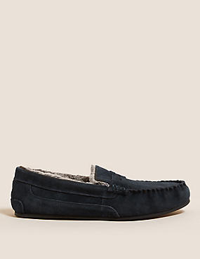 Suede Slippers with Thinsulate™, NAVY, catlanding