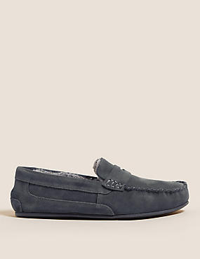 Suede Slippers with Thinsulate™, MED BLUE DENIM, catlanding