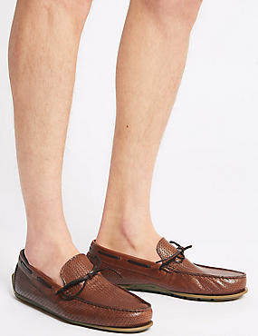 Leather Slip-on Loafers, BROWN, catlanding