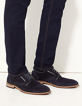 Suede Lace-up Derby Shoes, NAVY, catlanding