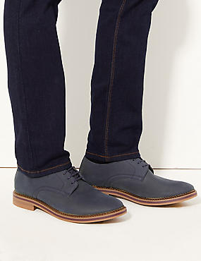 Leather Lace-up Derby Shoes, NAVY, catlanding