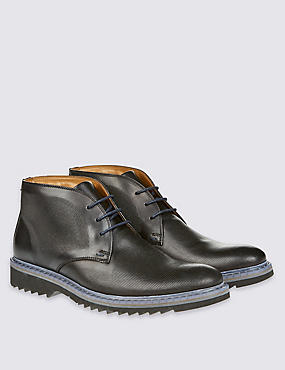 Leather Lace-up Embossed Chukka Boots