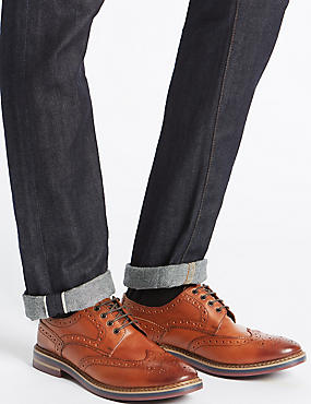 Extra Wide Fit Leather Trisole Brogue Shoes, CHESTNUT, catlanding