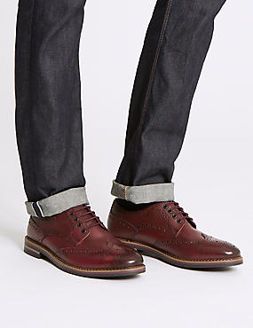 Extra Wide Fit Leather Trisole Brogue Shoes, BURGUNDY, catlanding