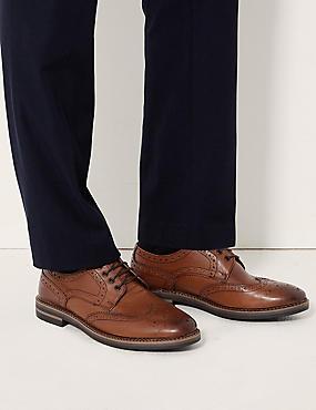 Leather Trisole Brogue Shoes, TAN, catlanding