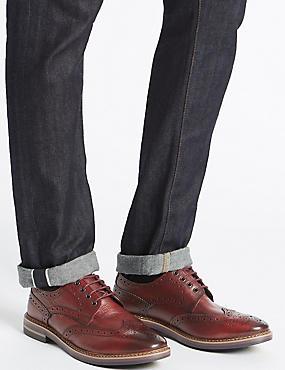 Leather Trisole Brogue Shoes, BURGUNDY, catlanding