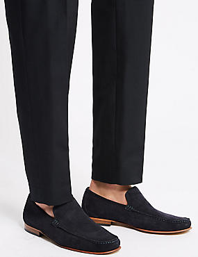 Suede Slip-on Loafers with Stain Resistance, NAVY, catlanding