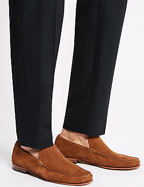 Suede Slip-on Loafers with Stain Resistance, COGNAC, catlanding