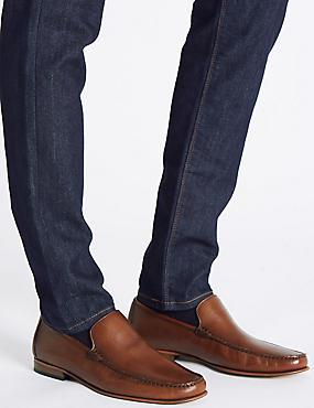 Leather Slip-on Loafers, TAN, catlanding