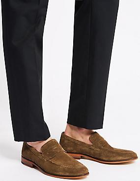 Suede Saddle Slip-on Loafers, SANDSTONE, catlanding