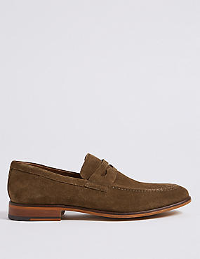 Suede Saddle Slip-on Loafers