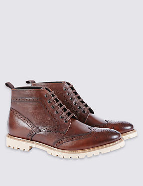 Leather Lace-up Cleated Brogue Boots
