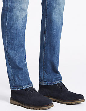 Suede Lace-up Boots, NAVY, catlanding