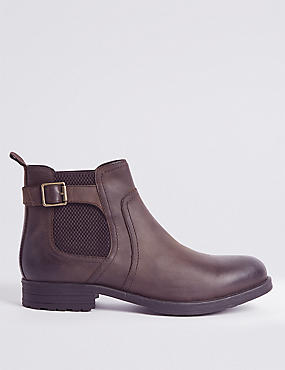 Leather Buckle Chelsea Boots