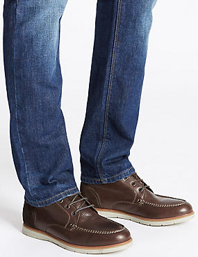 Leather Lace-up Chukka Boots, BROWN, catlanding