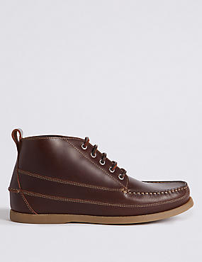Leather Moccasin Lace-up Chukka Boots