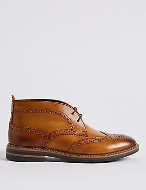 Big & Tall Leather Brogue Chukka Boots