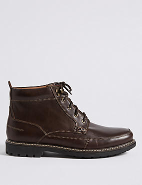 Big & Tall Leather Mudguard Lace-up Boots