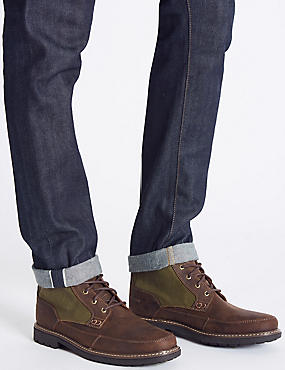 Leather Lace-up Boots, BROWN MIX, catlanding
