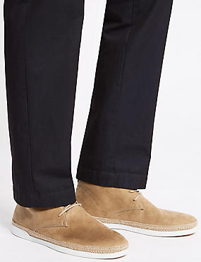 Faux Suede Lace-up Chukka Boots, STONE, catlanding