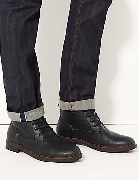 Lace-up Chukka Boots, BLACK, catlanding