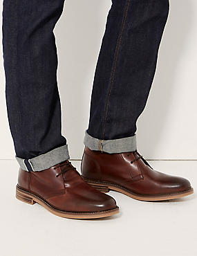 Leather Lace-up Chukka Boots, CONKER, catlanding