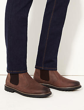 Big & Tall Leather Pull-on Chelsea Boots, BROWN, catlanding